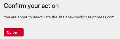 "The ""Confirm your action"" page for book deactivation"