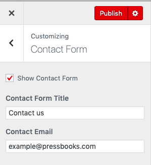 Contact form set up panel