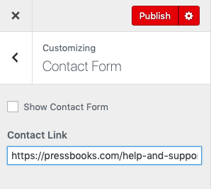 Contact link form in the customize panel