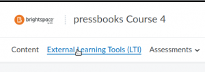 External Learning Tools link in the nav menu of a D2L course