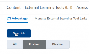 New link for an LTI Advantage tool in D2L