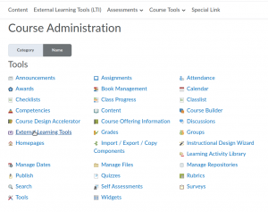 External Learning Tools link in the Course Admin menu