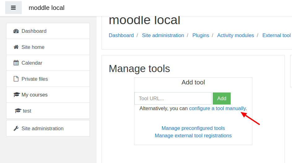 Configure a tool manually in Moodle menu