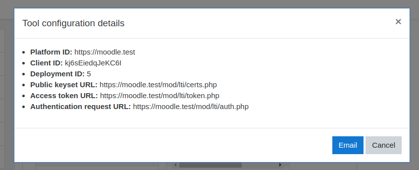 Sample LTI tool configuration in Moodle