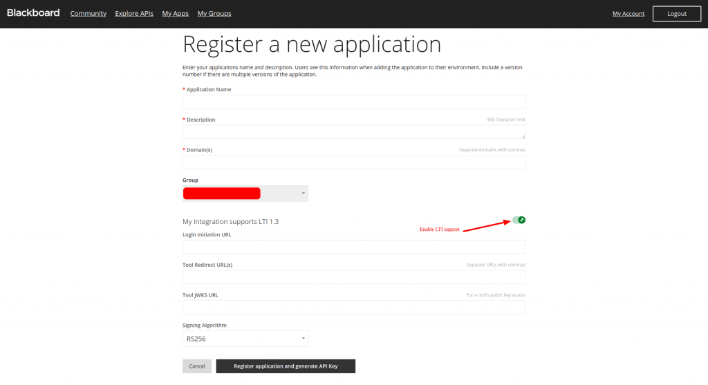 Register a new application in Blackboard with LTI 1.3 support enabled
