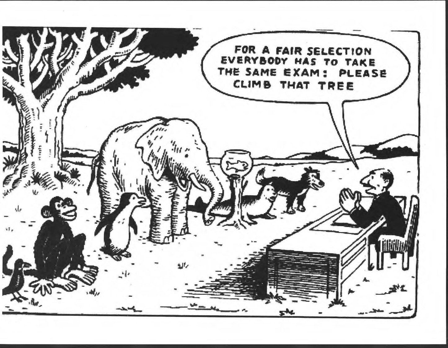 Cartoon Showing Disparate Impact of allegedly neutral test