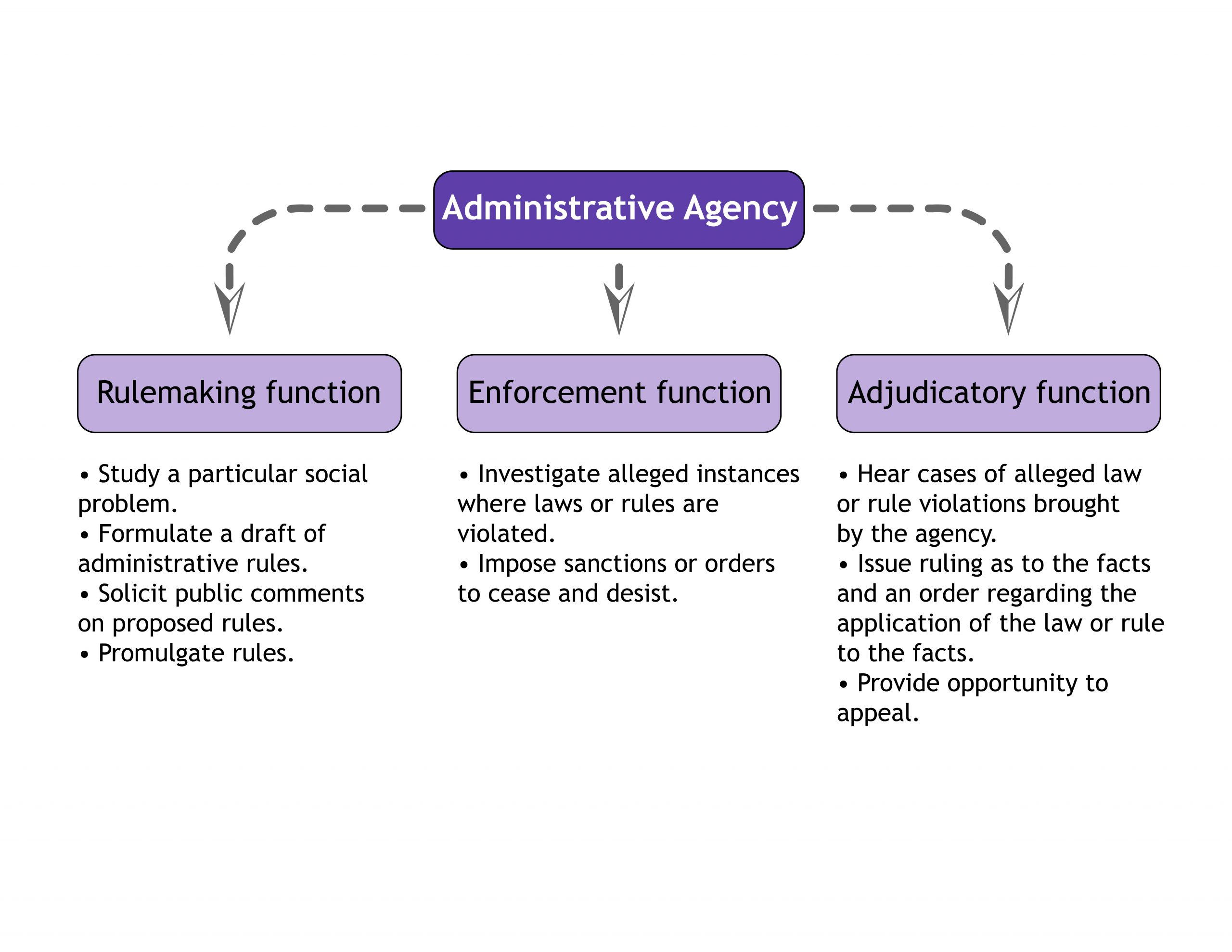 Graph showing rulemaking, enforcement, and adjudicatory functions of administrative agencies
