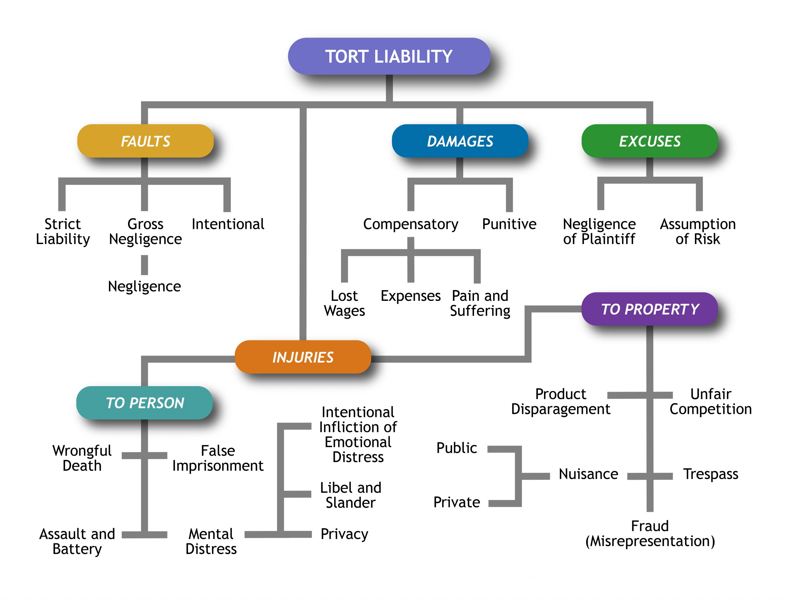 Flowchart showing categories of tort liability