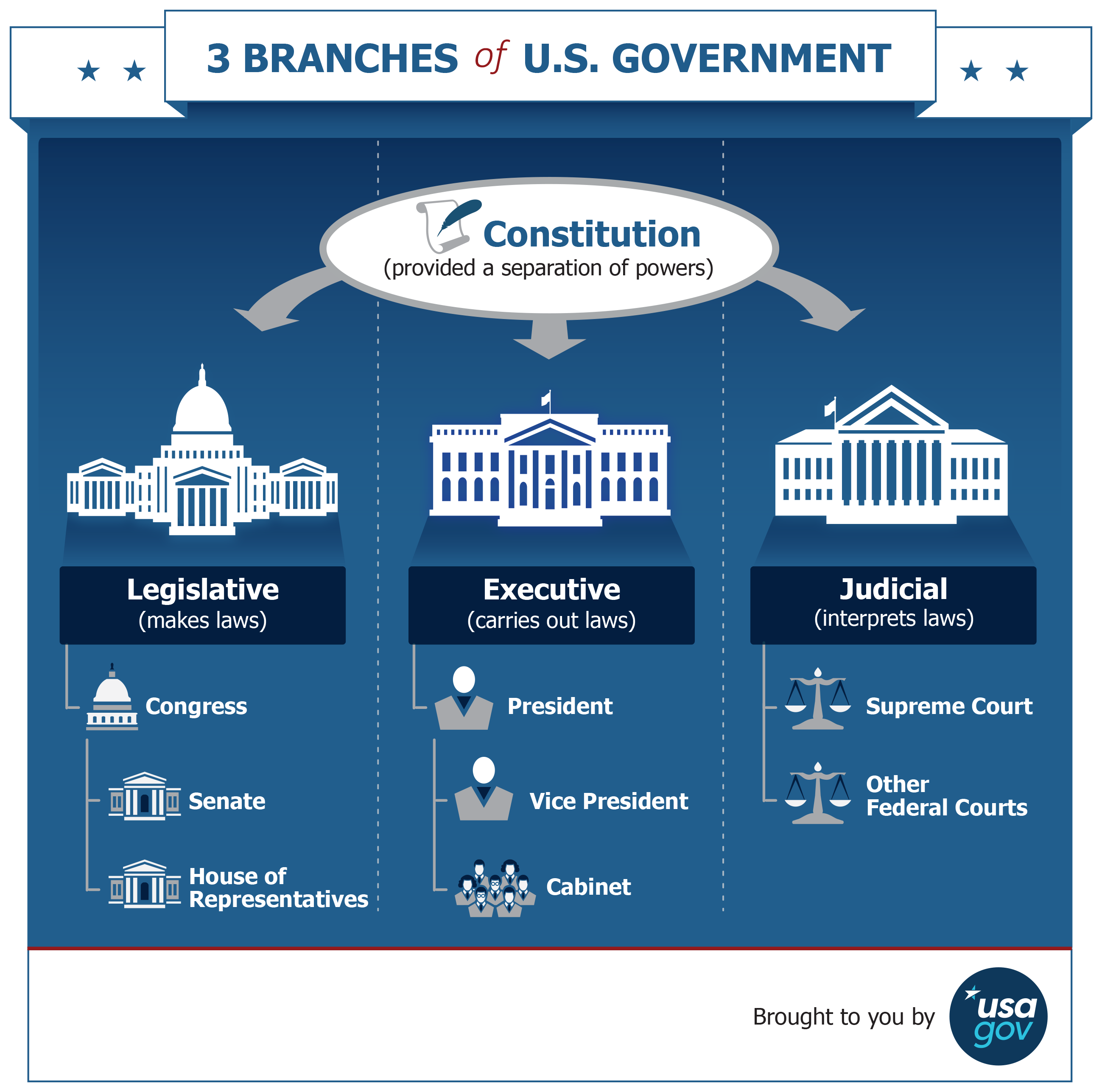 Graphic showing the three branches of the federal government