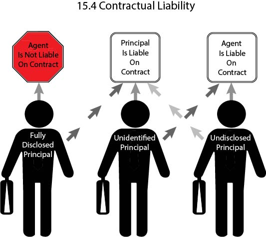 Graphic showing when agent and agent are liable on contracts