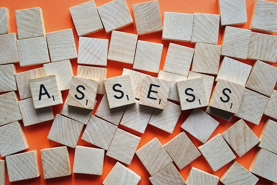 """scrabble tiles spelling out the word """"assess"""""""