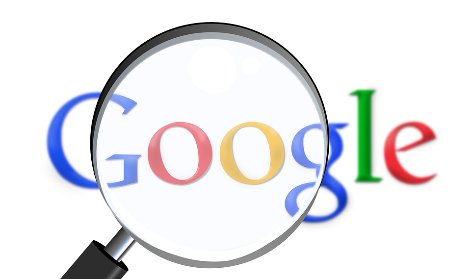 Google logo with a magnifying glass on top of the two o's