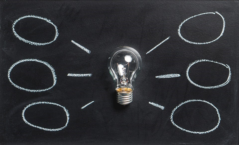 a lightbulb on a chalkboard with lines to other thought bubbles