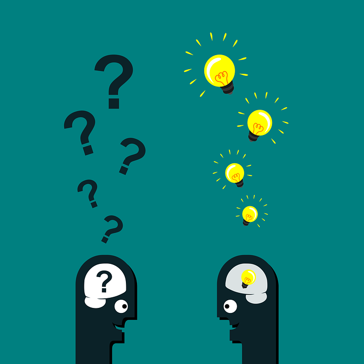 two cartoon people, one with question marks emanating from their head another with lightbulbs