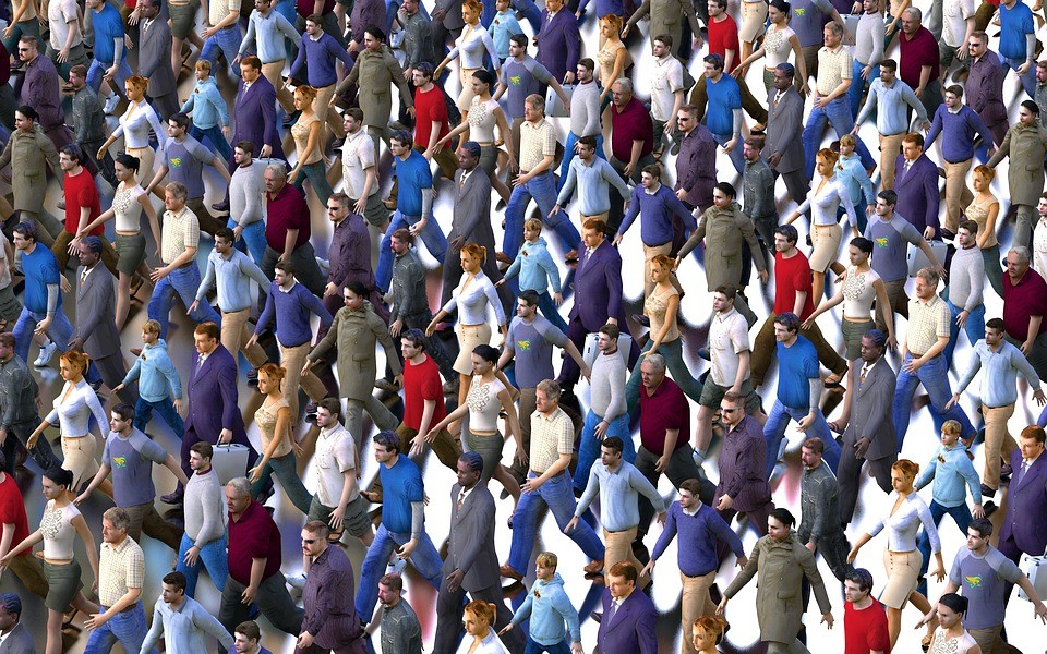 animated people walking in unison in a crowd