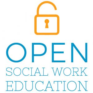 """Opened lock with the words """"open social work education"""" written underneath"""