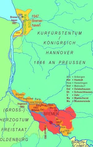 Territory of Bremen as a State - 1866