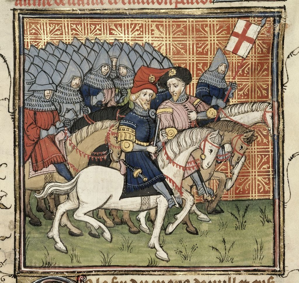 Medieval depiction of knights hoisting the English flag.