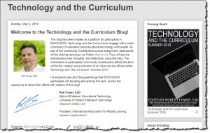 Screenshot of the Technology and the Curriculum blog site