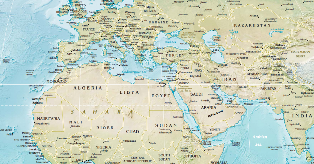 North Africa Southwest Asia And Central Asia Physical Map North Africa and Southwest Asia – World Regional Geography