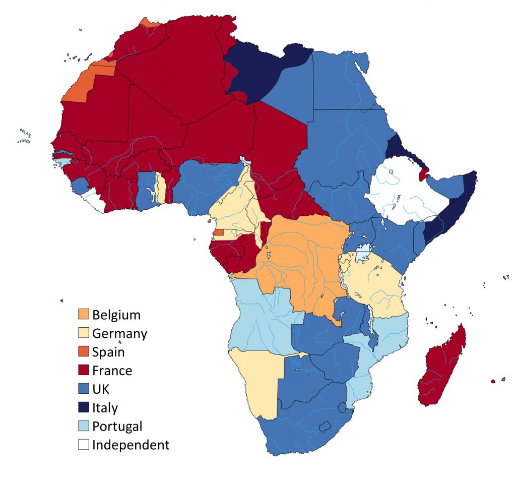 Map of the colonies in Africa circa 1913