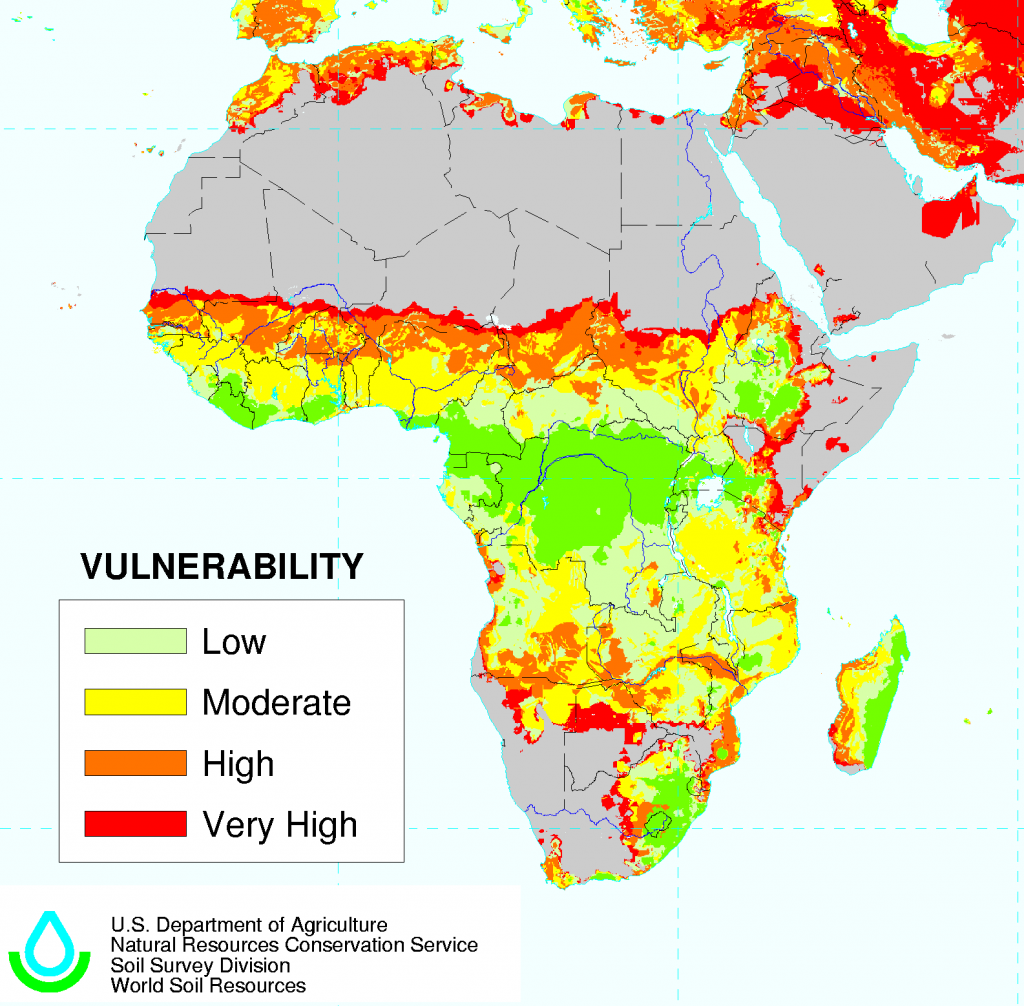 Map of areas at risk of desertification in Africa