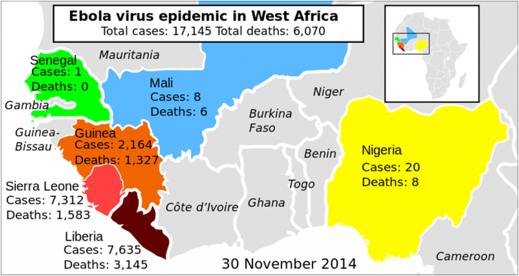 Map of the 2014 West African Ebola Outbreak