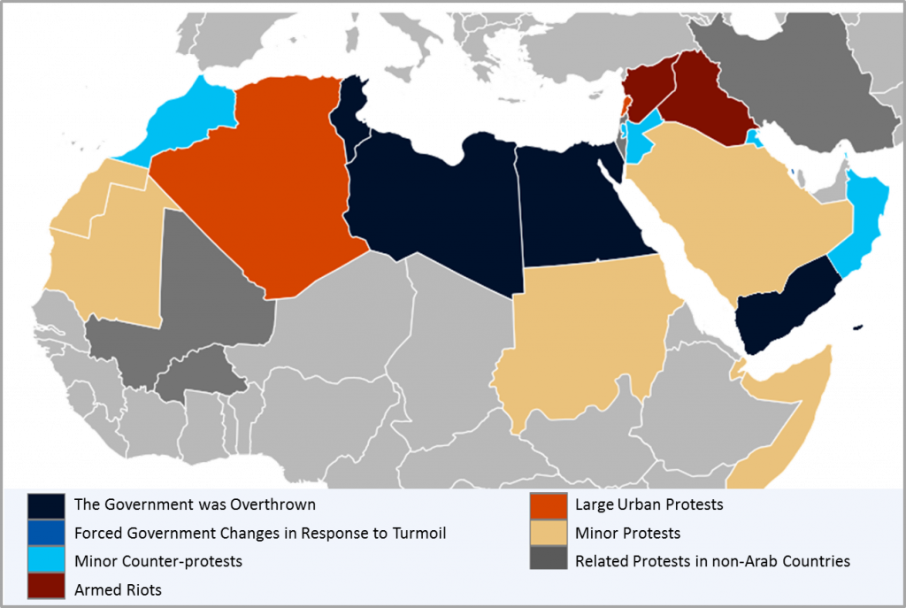 Map of the countries involved in the Arab Spring and the status of their government or political conflict