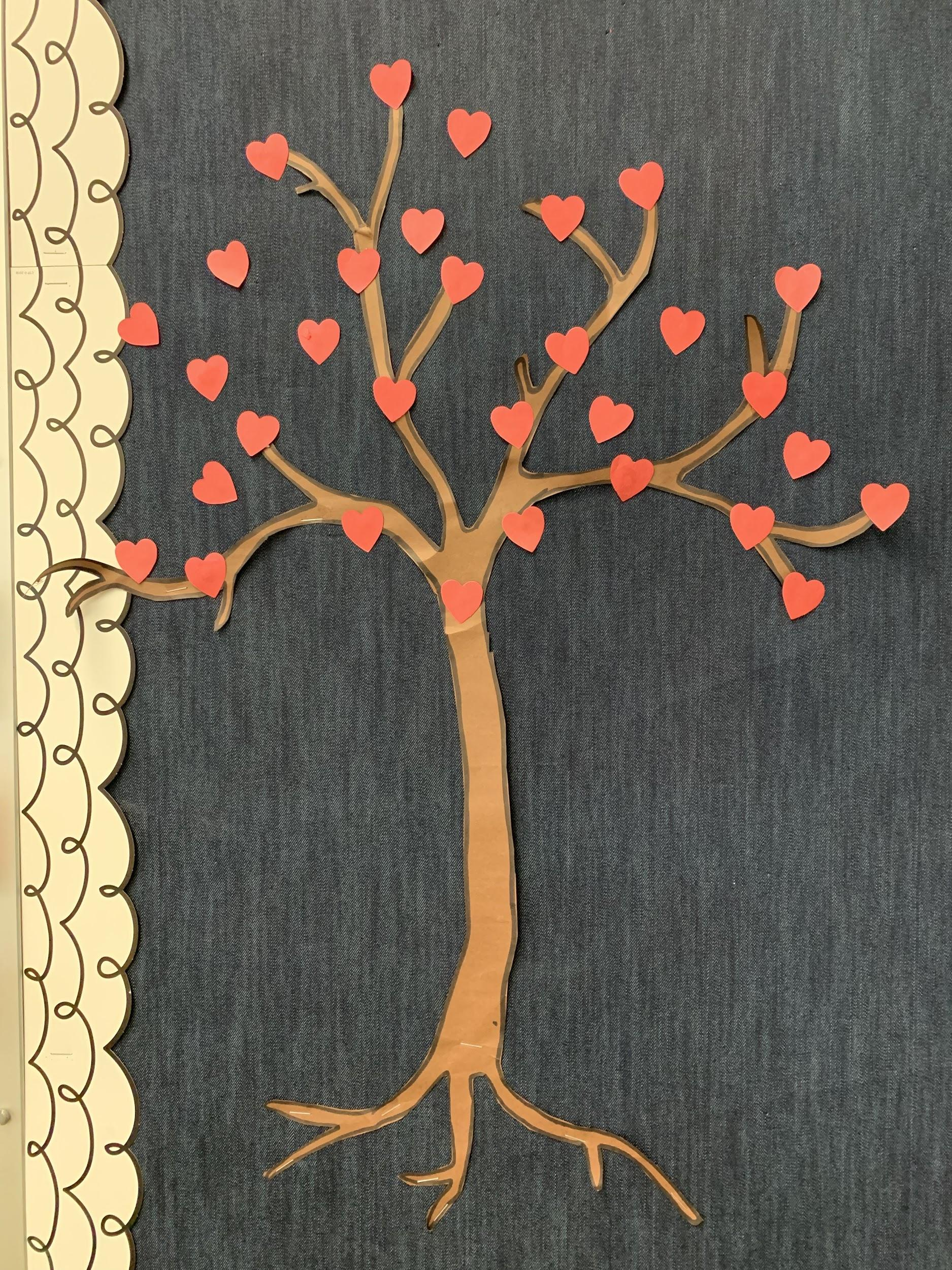 Kindness Tree with heart-shaped leaves