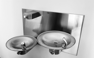 Multi-height drinking fountains allow access for people of different sizes as well as those in wheelchairs. The concept is now being expanded to include water bottle fillers, included here, and pet drinking bowls.