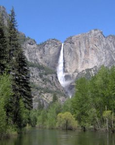 Image of a waterfall in Yosemite National Park.