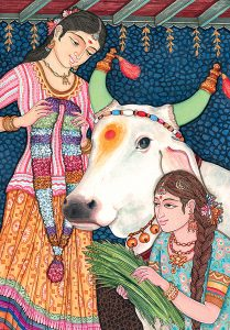 Image showing a garland of flowers and special food for cows regarded as an honored symbol in Hinduism
