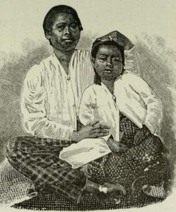 Drawing of a Mother and Child in Malaysia From Anthropology: An Introduction to the Study of Man and Civilization, E.B. Tylor, 1904