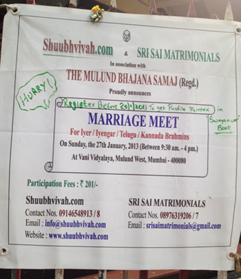 Advertisement for an arranged marriage event
