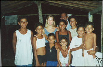 Image of author Katie Nelson with her Brazilian host family