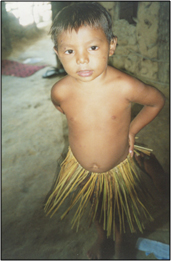 Image of a young Jenipapo-Kanindé boy showing off his grass skirt prior to a community dance