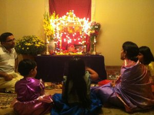 A Hindu altar in a home in San Diego, California
