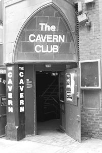 Black and white photographic image of the Cavern Club where the Beatles played.