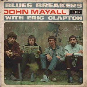 Newspaper cutout of the Blues Breakers, including John Mayall with Eric Clapton (1966)
