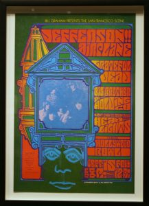 Colored concert poster for a showing featuring Jefferson Airplane, Grateful Dead, and others by Jim Blashfield (1967)