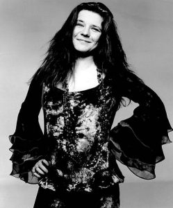 Black and white photo of Janis Joplin (1970)