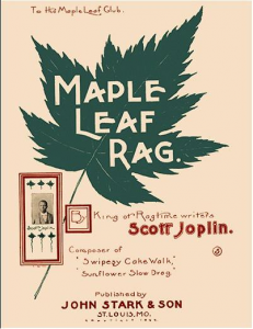 "Cover sheet for ""Maple Leaf Rag."" The cover is a beige with a green leaf and read text."