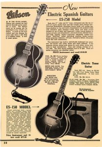 Advertisement for Gibson guitars.