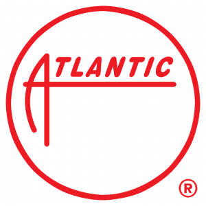 """Image of Atlantic Records Logo with red text. The logo includes a red circle with the word """"Atlantic"""" inside of the circle."""