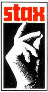 Black, white, and red Stax logo. Stax is written in lowercase bold red letters. There is a hand snapping in black and white.