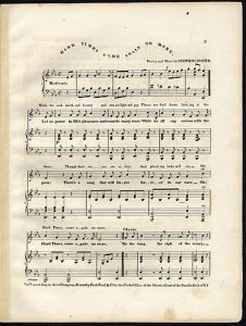 "Image of the old yellowed sheet music for ""Hard Times Come No More."""