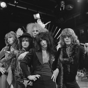 Black and white photo of The New York Dolls in 1973
