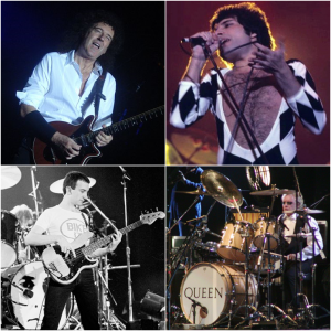 4 tiled photos of Queen performing live