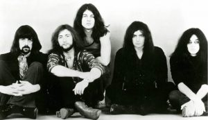 Black and white press photo of Deep Purple (1971)