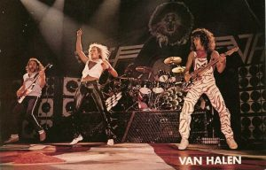 Color photo of Van Halen performing live